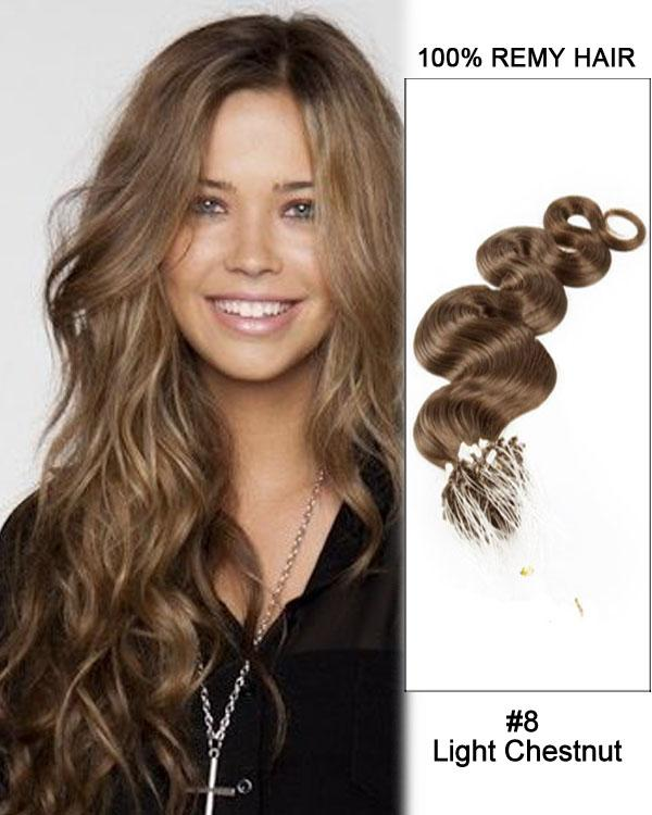 18 – 24 Inch Micro Loop Human Remy Hair Extensions Body Wave (#8 Ash Brown)