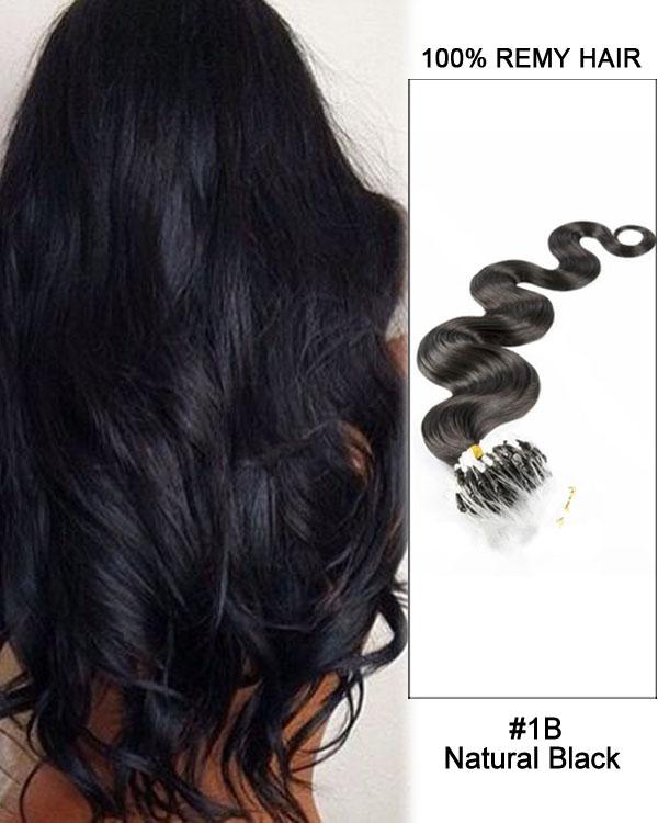 18 – 24 Inch Micro Loop Remy Hair Extensions Body Wave (#1B Natural Black)