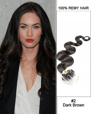 18 – 24 Inch Micro Loop Remy Hair Extensions Body Wave (#2 Dark Brown)