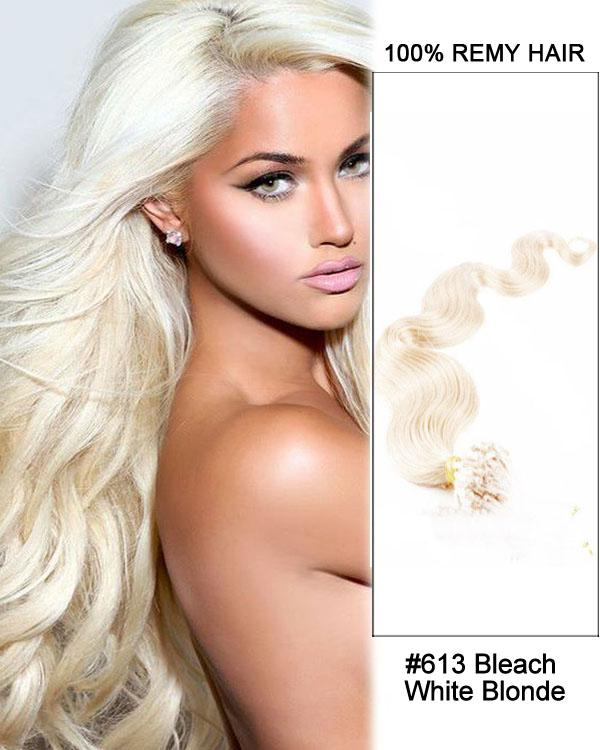 18 – 24 Inch Micro Loop Remy Hair Extensions Body Wave (#613 Bleach Blonde)