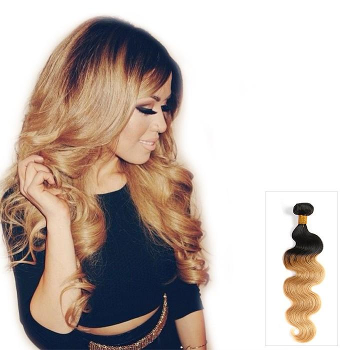 16 – 26 Inch Ombre Human Remy Hair Extensions Body Wave (#1B/#27)
