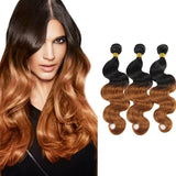 Ombre Human Remy Hair Extensions Body Wave 3 Bundles (#1B/#30)
