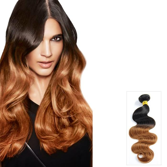 16 – 26 Inch Ombre Human Remy Hair Extensions Body Wave (#1B/#30)
