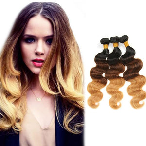 Ombre Human Remy Hair Extensions Body Wave 3 Bundles (#1B/#4/#27)
