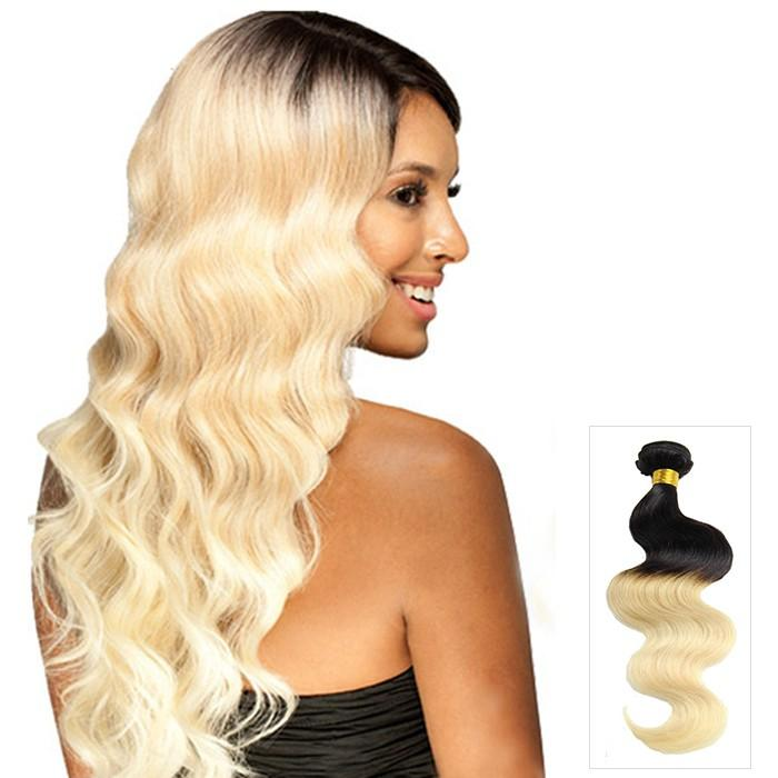 16 – 26 Inch Ombre Human Remy Hair Extensions Body Wave (#1B/#613)
