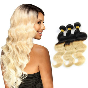 Ombre Human Remy Hair Extensions Body Wave 3 Bundles (#1B/#613)