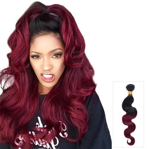 16 – 26 Inch Ombre Human Remy Hair Extensions Body Wave (#1B/#99J)