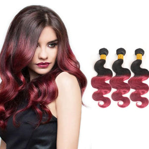Ombre Human Remy Hair Extensions Body Wave 3 Bundles (#1B/Red)
