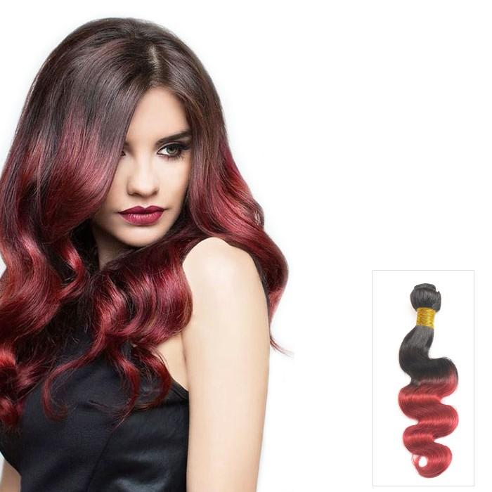 16 – 26 Inch Ombre Human Remy Hair Extensions Body Wave (#1B/Red)