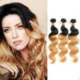 Ombre Human Remy Hair Extensions Body Wave 3 Bundles (#1B/#27)