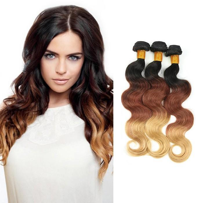 Ombre Human Remy Hair Extensions Body Wave 3 Bundles (#1B/#33/#27)