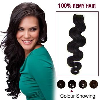 16 – 26 Inch Pre-Colored Human Remy Hair Extensions Body Wave (#1B Natural Black)