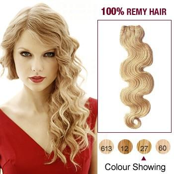 16 – 26 Inch Pre-Colored Human Remy Hair Extensions Body Wave (#27 Strawberry Blonde)