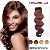 16 – 26 Inch Pre-Colored Human Remy Hair Extensions Body Wave (#33 Dark Auburn)