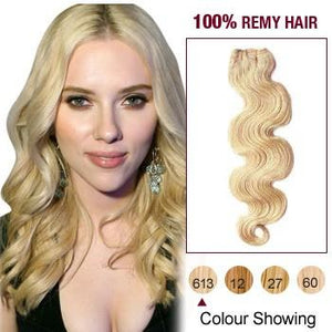 16 – 26 Inch Pre-Colored Human Remy Hair Extensions Body Wave (#613 Bleach Blonde)