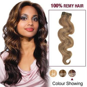 16 – 26 Inch Pre-Colored Human Remy Hair Extensions Body Wave (#4/#27 Strawberry Blonde)