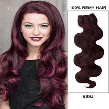 16 – 26 Inch Pre-Colored Human Remy Hair Extensions Body Wave (#99J Burgundy)