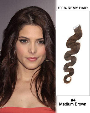 16 – 24 Inch Tape In Human Remy Hair Extensions Body Wave (#4 Medium Brown)
