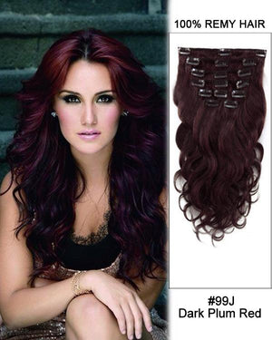 Clip In Human Remy Hair Extensions Body Wave 10 Pieces (#99J Burgundy)