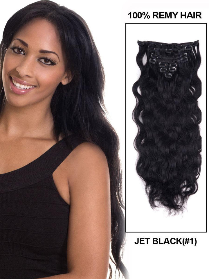 Clip In Human Remy Hair Extensions Body Wave 10 Pieces (#1 Jet Black)