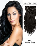 16 - 26 Inch Clip In Human Remy Hair Extensions Body Wave 10 Pieces (#1B Natural Black)