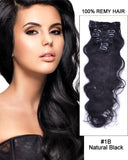 Clip In Human Remy Hair Extensions Body Wave 7 Pieces (#1B Natural Black)
