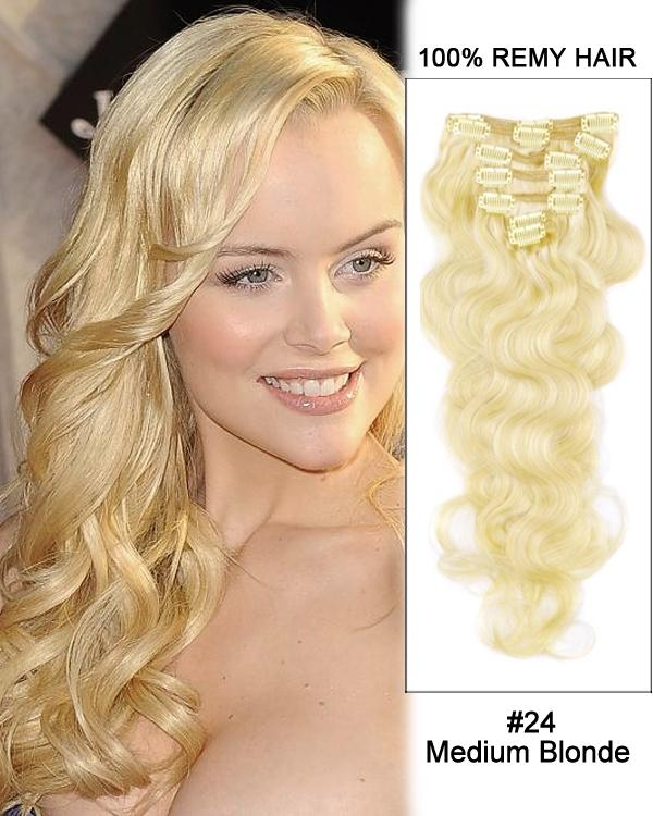 Clip In Human Remy Hair Extensions Body Wave 7 Pieces (#24 Medium Blonde)