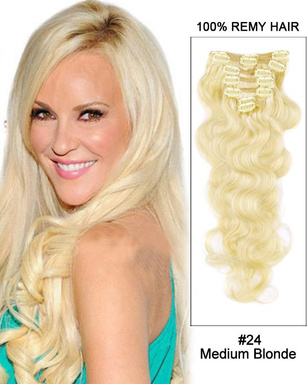 Clip In Human Remy Hair Extensions Body Wave 8 Pieces (#24 Medium Blonde)