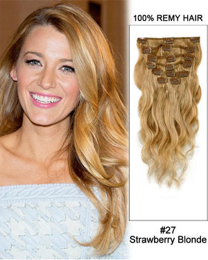 Clip In Human Remy Hair Extensions Body Wave 7 Pieces (#27 Strawberry Blonde)