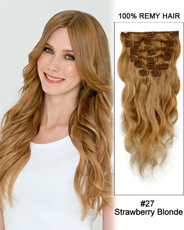 Clip In Human Remy Hair Extensions Body Wave 8 Pieces (#27 Strawberry Blonde)