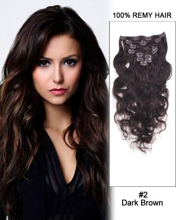 Clip In Human Remy Hair Extensions Body Wave 7 Pieces (#2 Dark Brown)