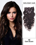 16 - 26 Inch Clip In Human Remy Hair Extensions Body Wave 7 Pieces (#2 Dark Brown)