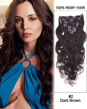 Clip In Human Remy Hair Extensions Body Wave 8 Pieces (#2 Dark Brown)