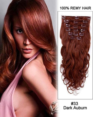 Clip In Human Remy Hair Extensions Body Wave 8 Pieces (#33 Dark Auburn)