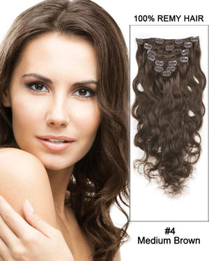 Clip In Human Remy Hair Extensions Body Wave 10 Pieces (#4 Medium Brown)
