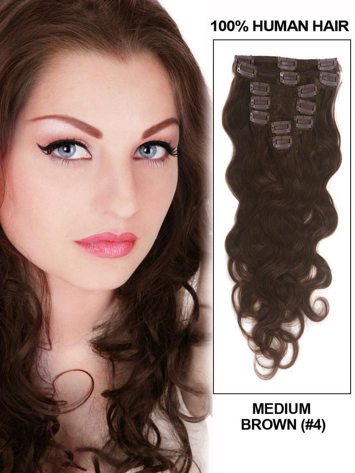 Clip In Human Remy Hair Extensions Body Wave 7 Pieces (#4 Medium Brown)