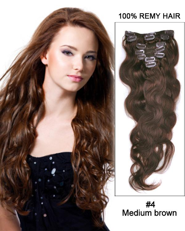 Clip In Human Remy Hair Extensions Body Wave 8 Pieces (#4 Medium Brown)