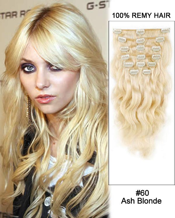 Clip In Human Remy Hair Extensions Body Wave 7 Pieces (#60 White Blonde)