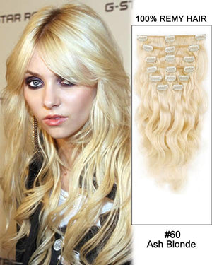 Clip In Human Remy Hair Extensions Body Wave 8 Pieces (#60 White Blonde)