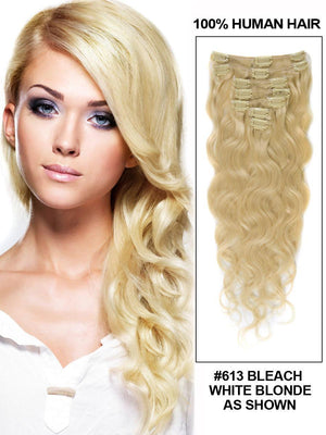 Clip In Human Remy Hair Extensions Body Wave 10 Pieces (#613 Bleach Blonde)