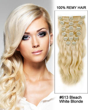 Clip In Human Remy Hair Extensions Body Wave 7 Pieces (#613 Bleach Blonde)