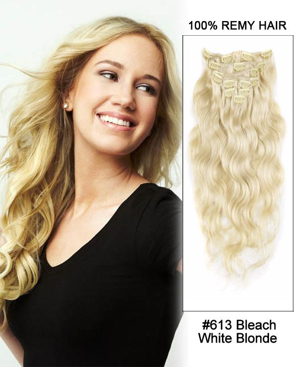 Clip In Human Remy Hair Extensions Body Wave 8 Pieces (#613 Bleach Blonde)