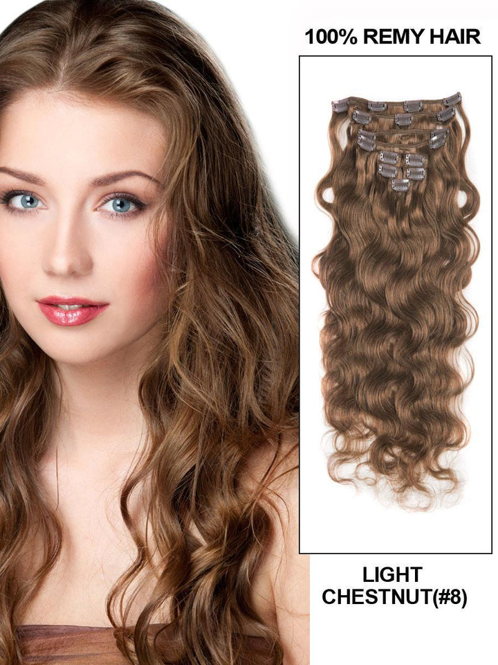 Clip In Human Remy Hair Extensions Body Wave 10 Pieces (#8 Ash Brown)