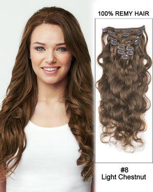 Clip In Human Remy Hair Extensions Body Wave 7 Pieces (#8 Ash Brown)