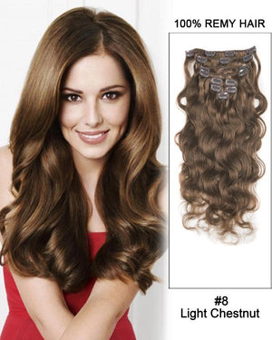 Clip In Human Remy Hair Extensions Body Wave 8 Pieces (#8 Ash Brown)