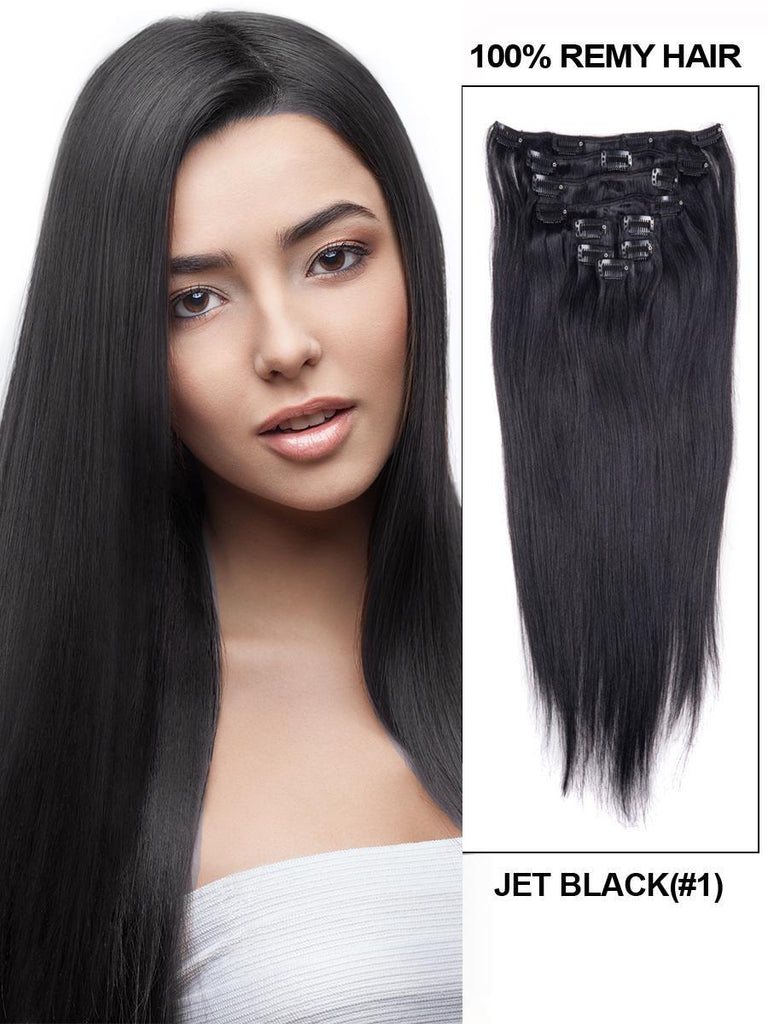Clip In Human Remy Hair Extensions Straight 10 Pieces (#1 Jet Black)