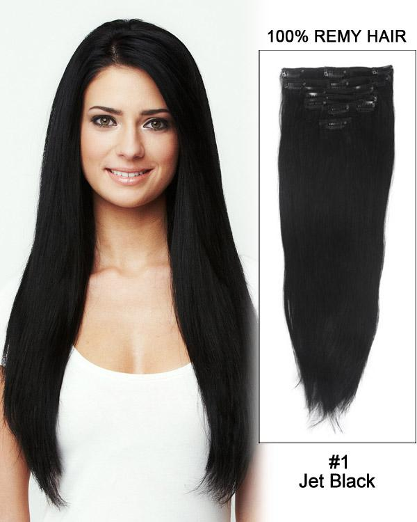 Clip In Human Remy Hair Extensions Straight 7 Pieces (#1 Jet Black)