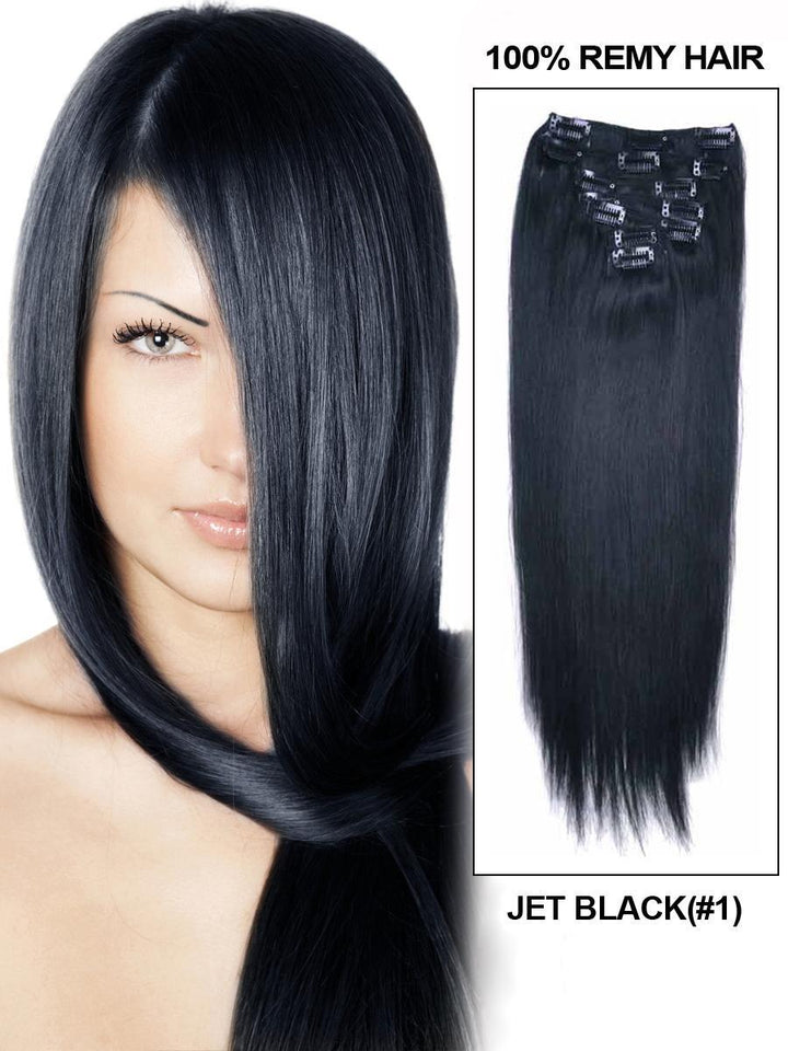 Clip In Human Remy Hair Extensions Straight 8 Pieces (#1 Jet Black)