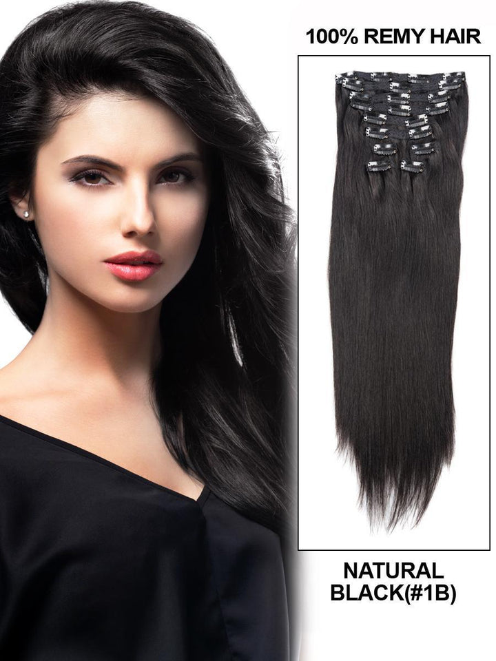 Clip In Human Remy Hair Extensions Straight 10 Pieces (#1B Natural Black)
