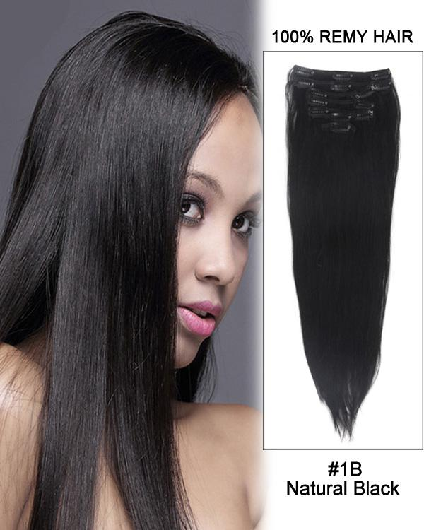 Clip In Human Remy Hair Extensions Straight 7 Pieces (#1B Natural Black)